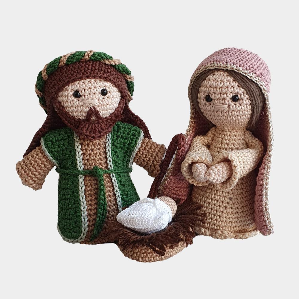 AMIGURUMIS: MARIA, JOSÉ E MENINO JESUS DE CROCHÊ